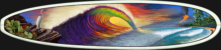 Surfboard Wall Art : Rainbow Tube by Kem McNair